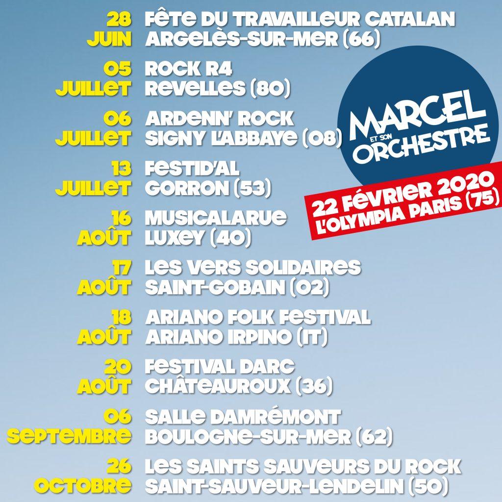Les dates de tournées de Marcel et son Orchestre sur fond bleu ciel.